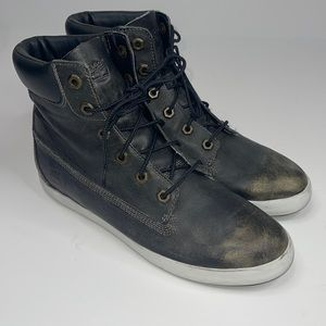 Timberland High Top Gold Distressed Shoes